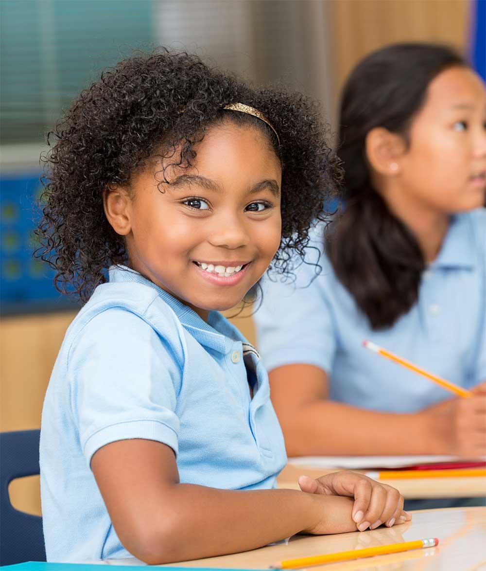grade school girl happy